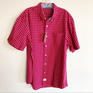 Izod Saltwater Red Plaid Short Sleeve Button Down